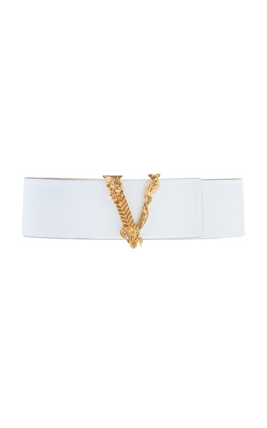 Versace Baroque V Wide Leather Belt Size: 70 cm in white