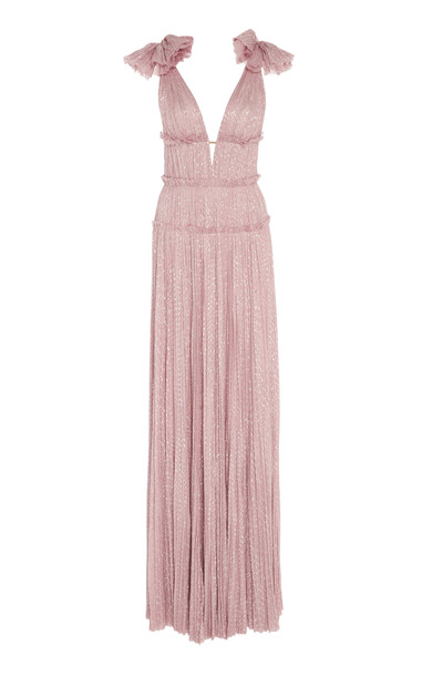 J. Mendel Hand-Pleated Silk Gown With Shoulder Detail Size: 6 in purple
