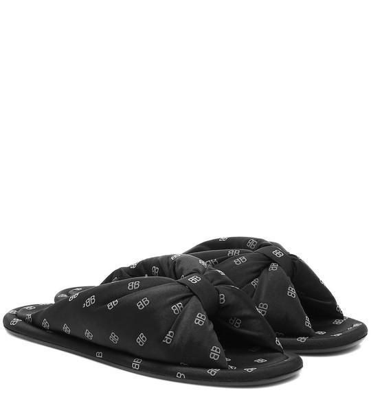 Balenciaga BB satin slides in black