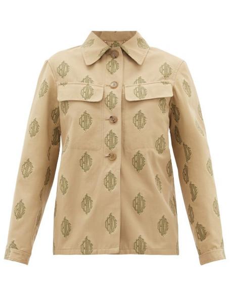 Chloé Chloé - Logo-jacquard Cotton Jacket - Womens - Beige