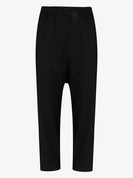 Nili Lotan drop crotch wool crop trousers in black