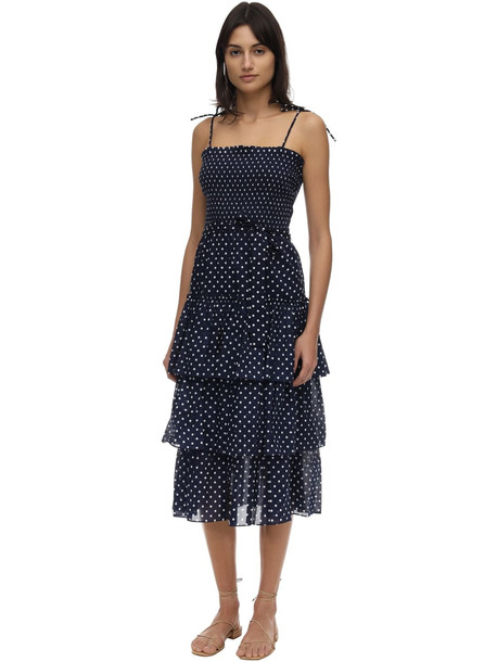 TORY BURCH Ruffled Polka Dot Cotton Voile Dress in navy / white