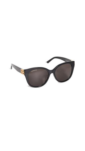 Balenciaga Dynasty Vintage Cat Eye Sunglasses in black / gold / grey