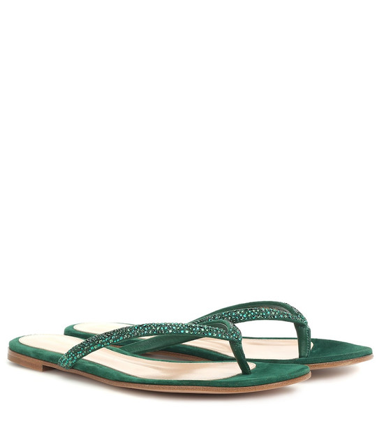 Gianvito Rossi Diva 05 embellished suede sandals in green