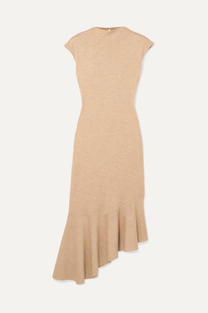 aaizél - Asymmetric Ruffled Mélange Jersey Midi Dress - Sand