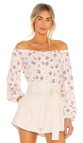 AFRM Nessa Bodysuit in White in blush