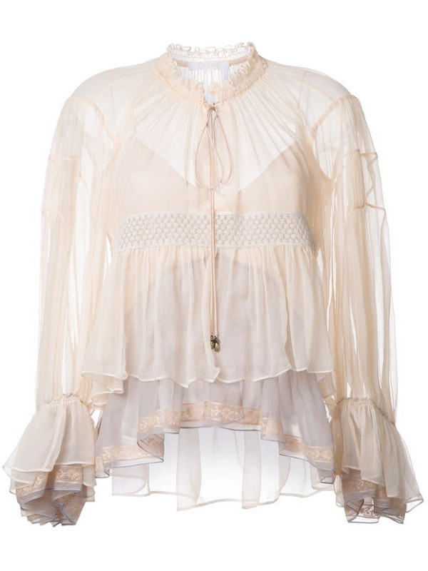 Chloé colour block tiered top in neutrals