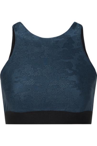 Heroine Sport - Swap Reversible Cutout Stretch Jacquard-knit Sports Bra - Storm blue