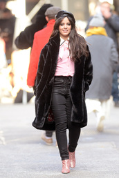 top,shirt,pink,coat,camila cabello,celebrity,fall outfits,boots,pants