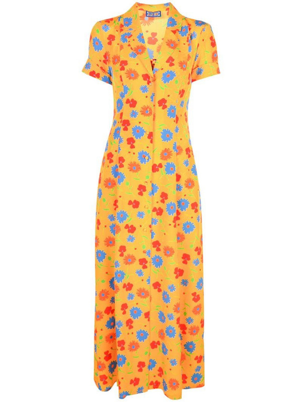 Lhd floral print full-length dress in yellow