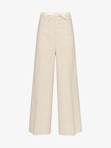 Jil Sander drawstring wide-leg trousers in neutrals