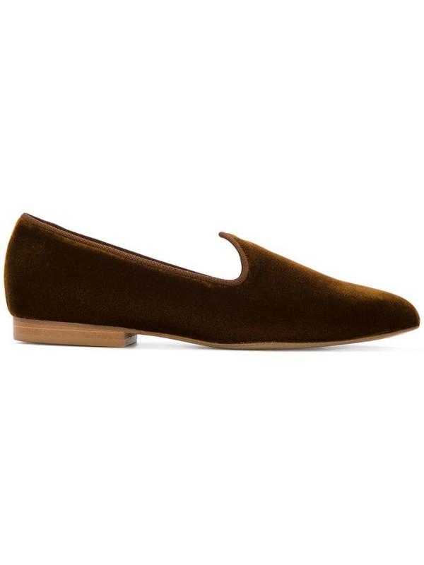 Le Monde Beryl Venetian velvet slippers in brown