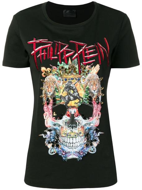 Philipp Plein embellished skull T-shirt in black