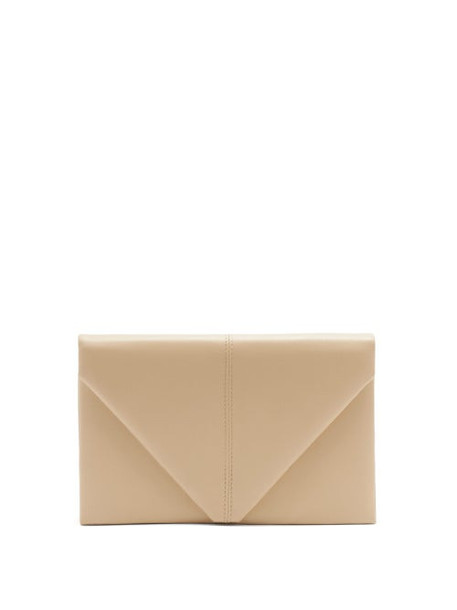 Hunting Season - The Envelope Leather Clutch Bag - Womens - Beige