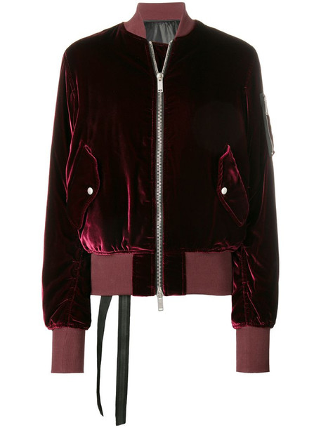 UNRAVEL PROJECT fitted velvet bomber in red