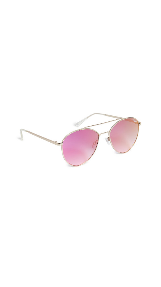 Quay Dragonfly Sunglasses in gold / pink