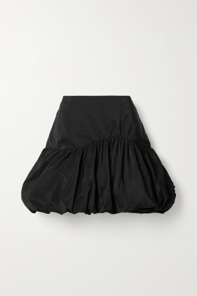 BLOUSE - Scandal's Bride Gathered Taffeta Mini Skirt - Black