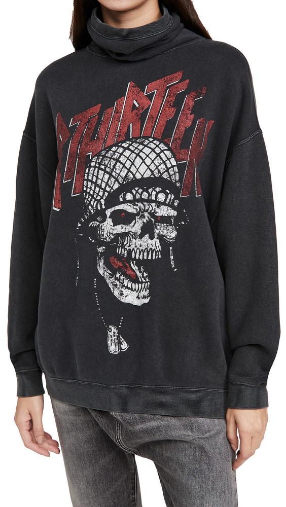 R13 #MaskUp Battle Punk Vintage Fleece Crew Sweatshirt in black