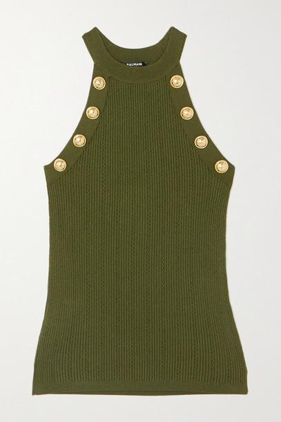BALMAIN - Button-embellished Ribbed-knit Tank - Green