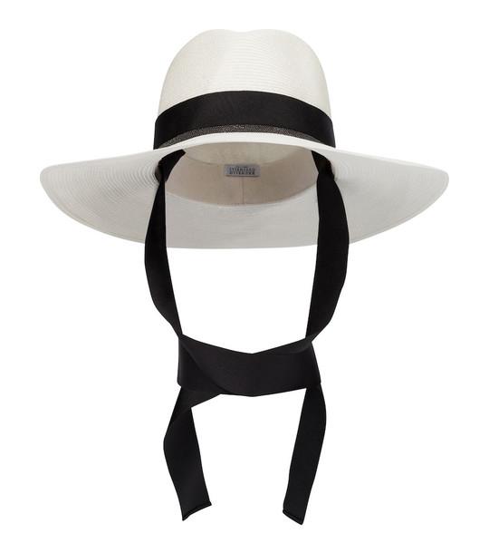 Brunello Cucinelli Embellished hemp and cotton hat in white