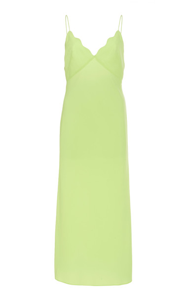 Acler Aviel Scalloped Midi Slip Dress Size: 6 in orange