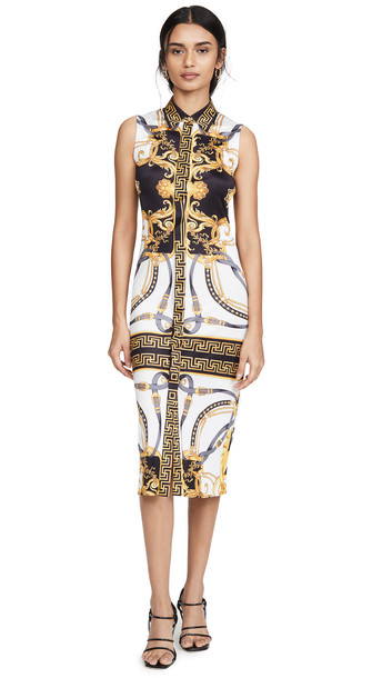 Versace Jersey Dress in black / gold / multi
