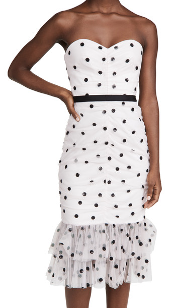 Marchesa Notte Sequin Dot Tulle Strapless Dress in lavender