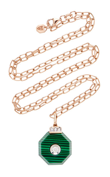 Melis Goral 14K Gold, Malachite And Diamond Necklace in green
