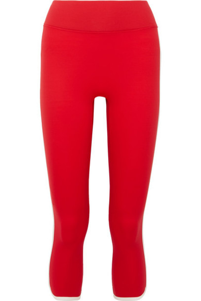 All Access - Vinyl Record Cropped Striped Stretch Leggings - Red