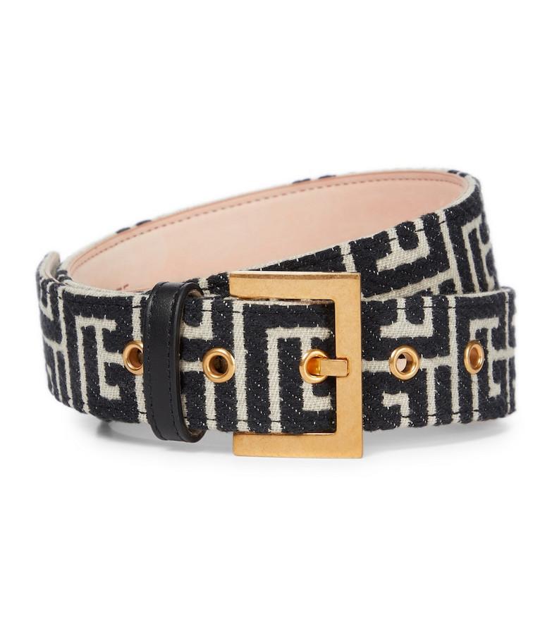 Balmain B-Classic monogram jacquard belt in black