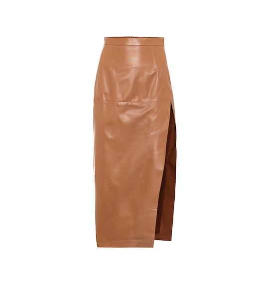 Zeynep Arçay High-rise leather pencil skirt in brown