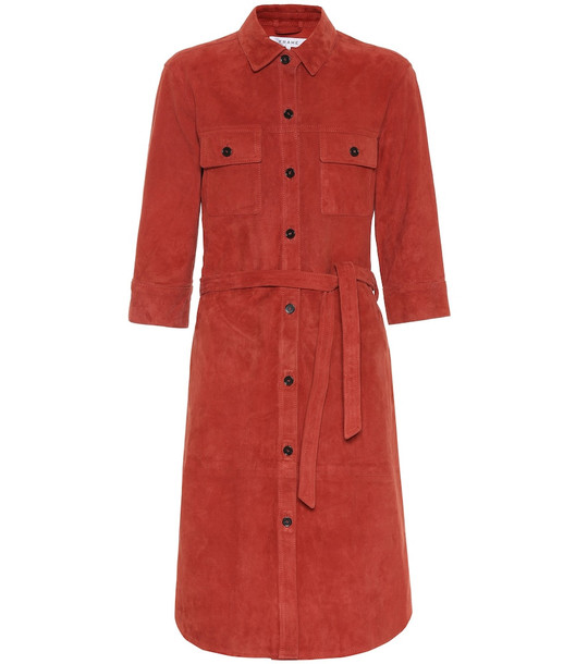 Frame Military suede shirt dress in red