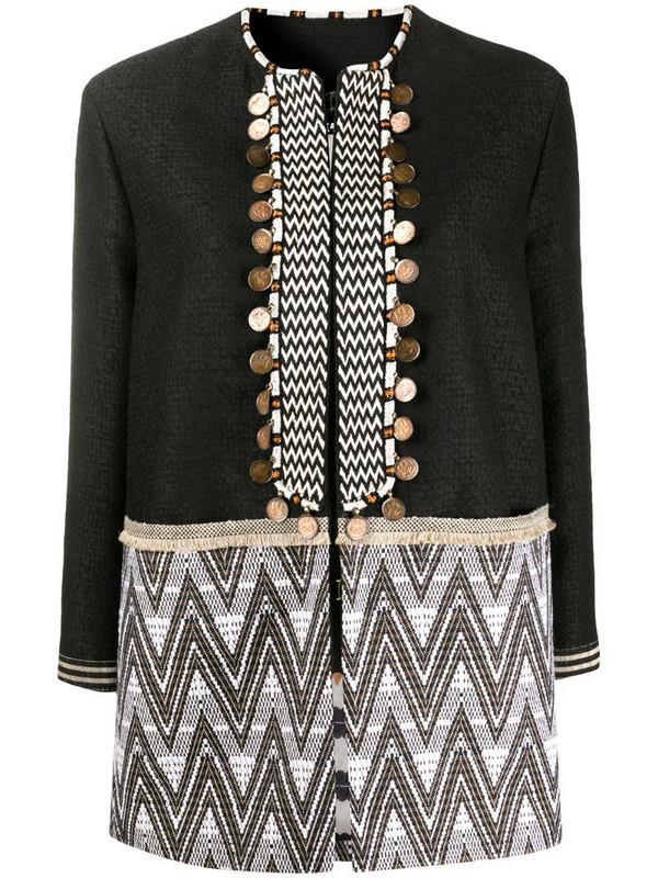 Bazar Deluxe geometric jacquard embellished jacket in black