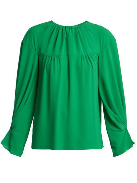 Emilia Wickstead - Lauren Gathered Crepe Blouse - Womens - Green