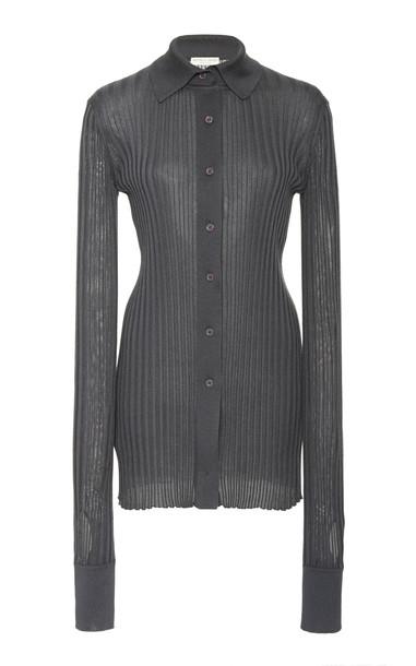 Bottega Veneta Ribbed Knit Silk Top Size: 36 in grey