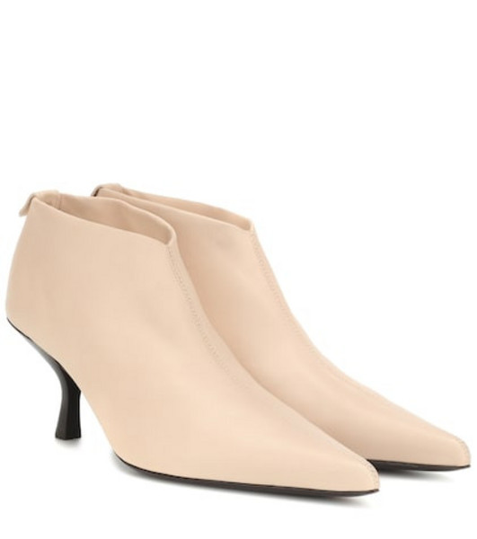 The Row Bourgeoise leather ankle boots in beige