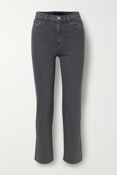 J Brand - Jules Distressed High-rise Straight-leg Jeans - Dark gray