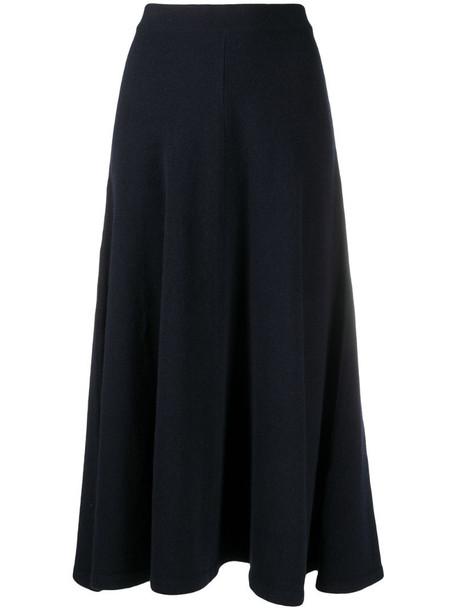 Closed high-waist flared midi skirt in blue
