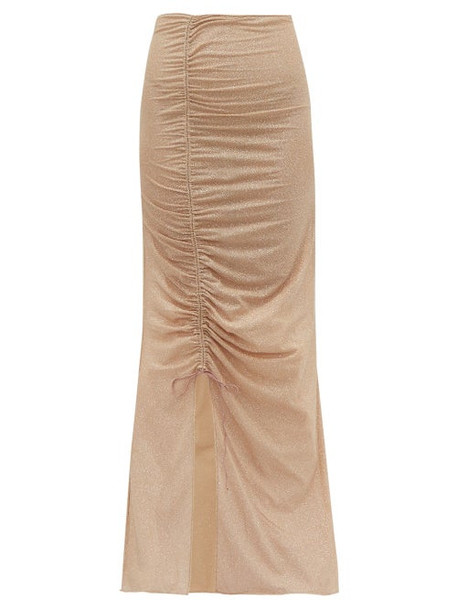 Oseree - Lumière Ruched Metallic Tulle Maxi Skirt - Womens - Nude