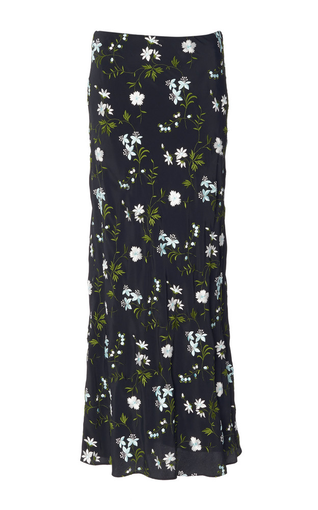 Paco Rabanne Floral Crepe Maxi Skirt in black