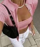blouse,vest,top,pinterest,aesthetic,pink,cable knit,button up