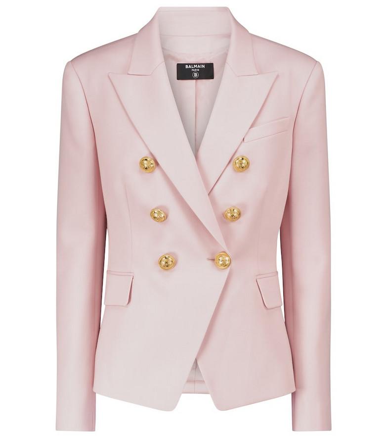Balmain Double-breasted wool blazer in pink