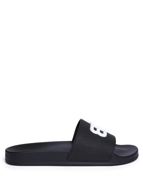 Balenciaga - Bb-embossed Rubber Slides - Womens - Black White