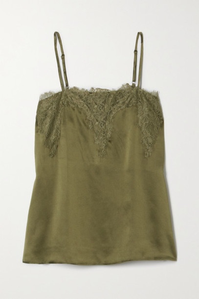 Cami NYC - The Sweetheart Lace-trimmed Silk-charmeuse Camisole - Green
