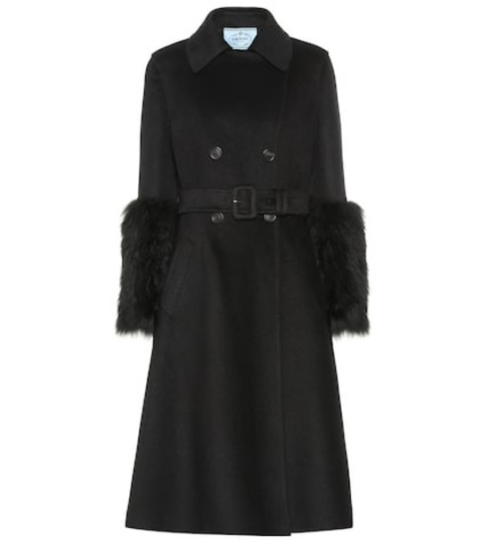 Prada Wool and angora-blend coat in black