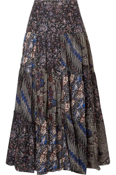 Ulla Johnson - Asilia Printed Cotton And Silk-blend Maxi Skirt - Indigo