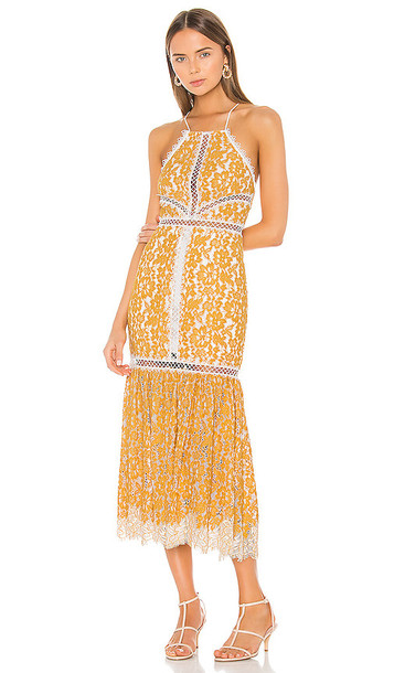 X by NBD Felicity Embroidered Dress in Yellow