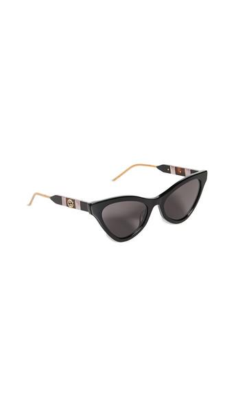 Gucci Sophisticated Web Cat Eye Sunglasses in black / grey