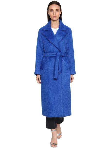 GIADA BENINCASA Long Mohair Blend Coat in blue