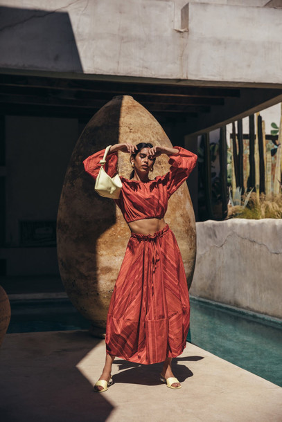 Cult Gaia Oshun Skirt - Clay Multi Stripe                                                                                               $358.00